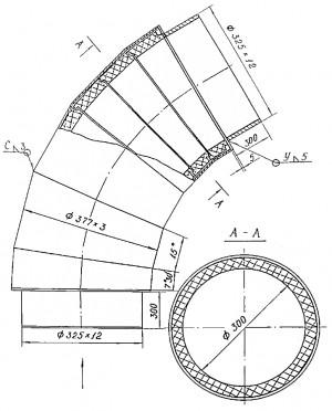 Поворотный участок пылепровода футерованный камнелитыми кольцами