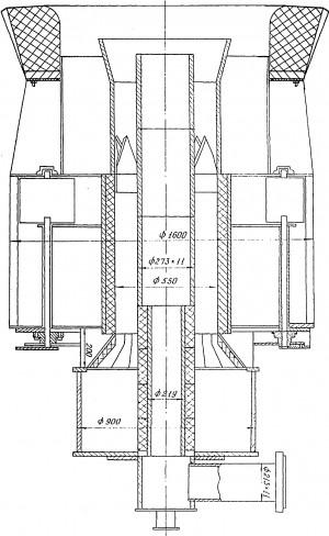 Схема футеровки пылеугольной горелки каменным литьем ПК-39