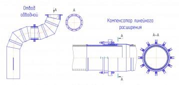 Отвод обводной и компенсатор линейного расширения футерованные каменным литьем